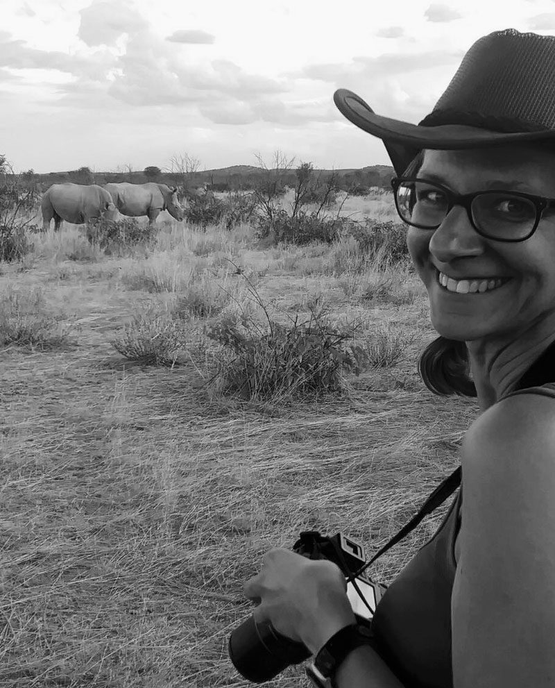 liz lunnon with rhino ongava namibia