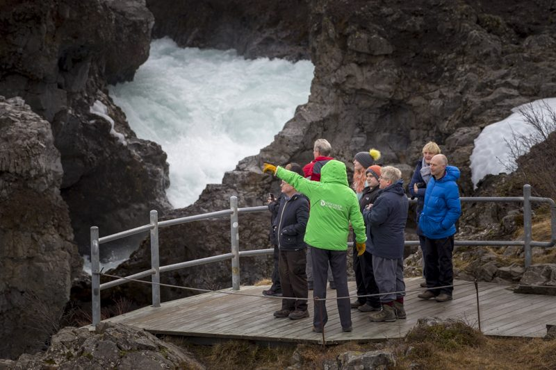 discover the world escorted holiday group hraunfossar iceland