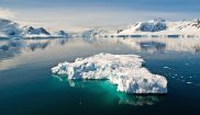 antarctica blue icebergs in tranquil channel sstock