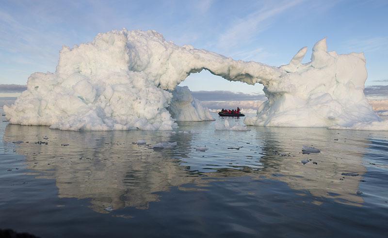 arctic iceberg arch zodiac cruise oo