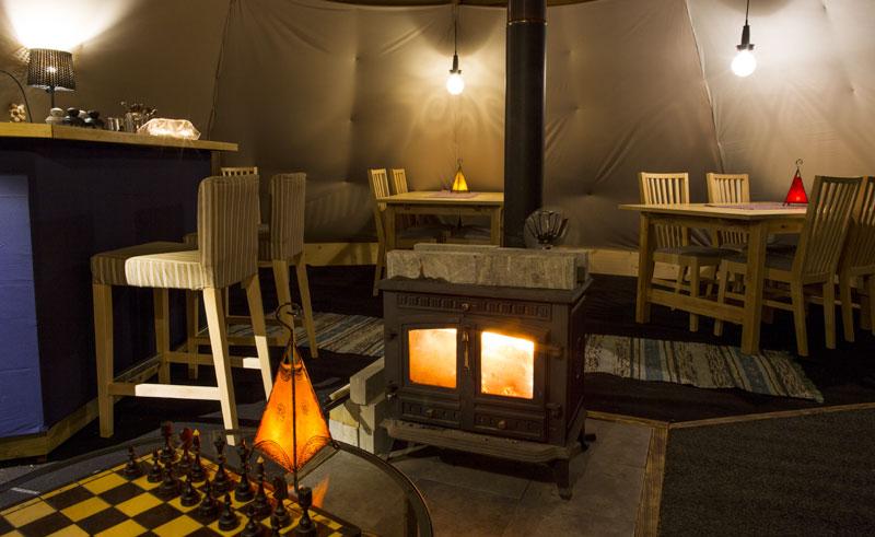 aurora safari camp lounge interior