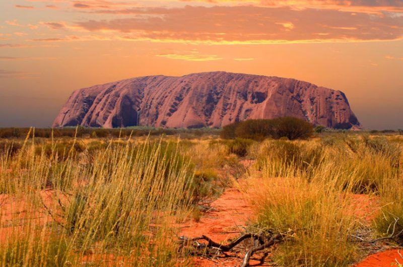 australia northern territory uluru at sunset ws