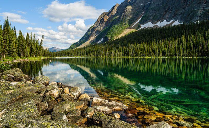 canada alberta banff reflection boom lake istock