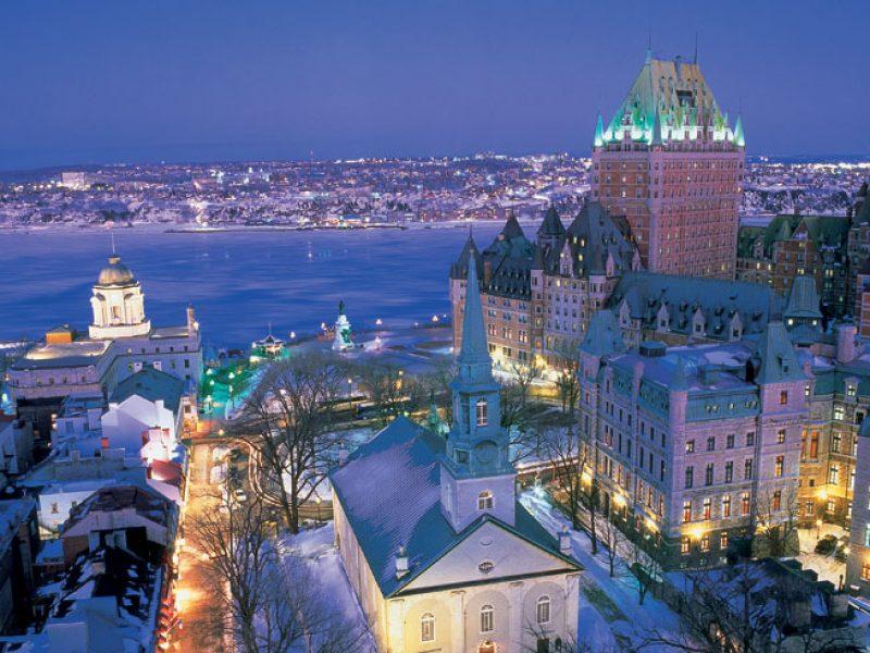 canada quebec cityscape winter