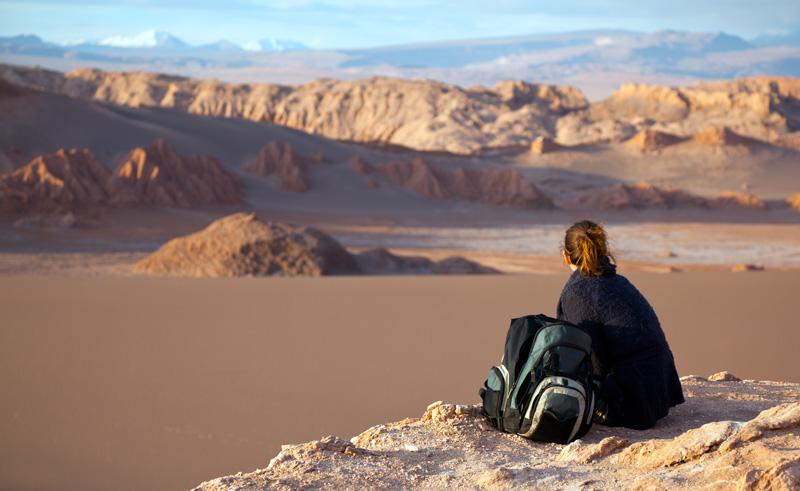 chile atacama moon valley hiker is