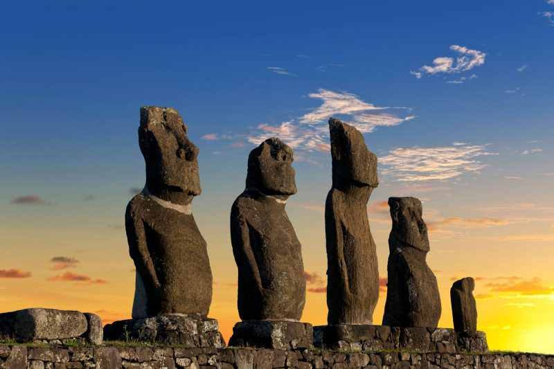 chile easter island dawn at ahu tahai moais istk 1