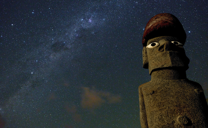 chile easter island moai with stars istk