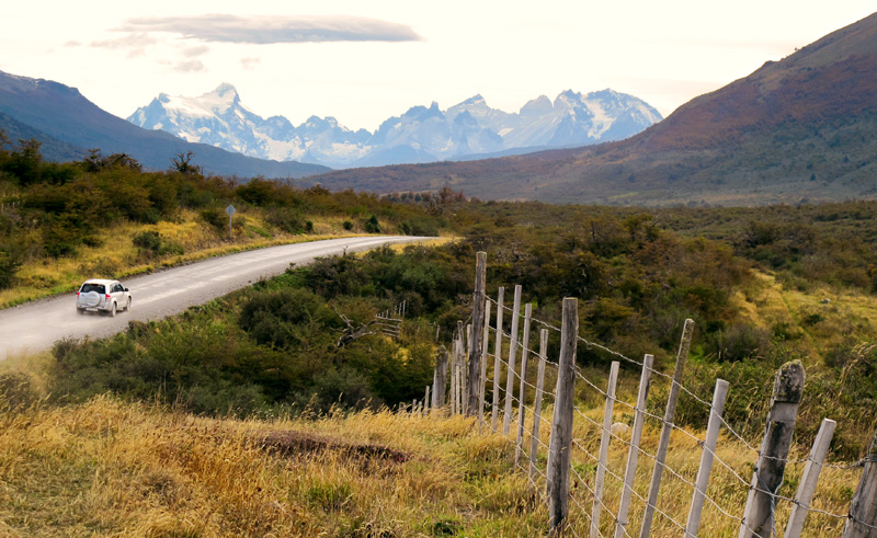 chile patagonia car torres del paine is