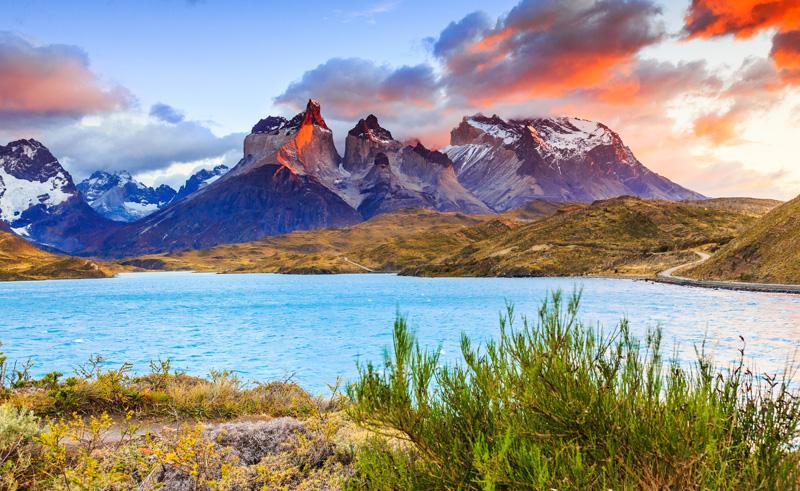 chile patagonia lake pehoe sunset as