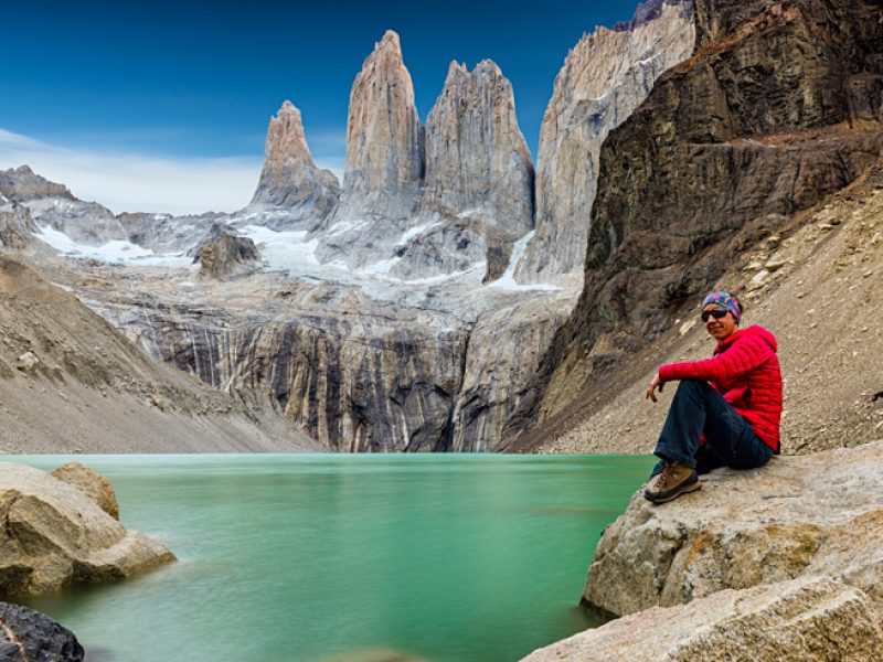 chile patagonia torres del paine hiker is