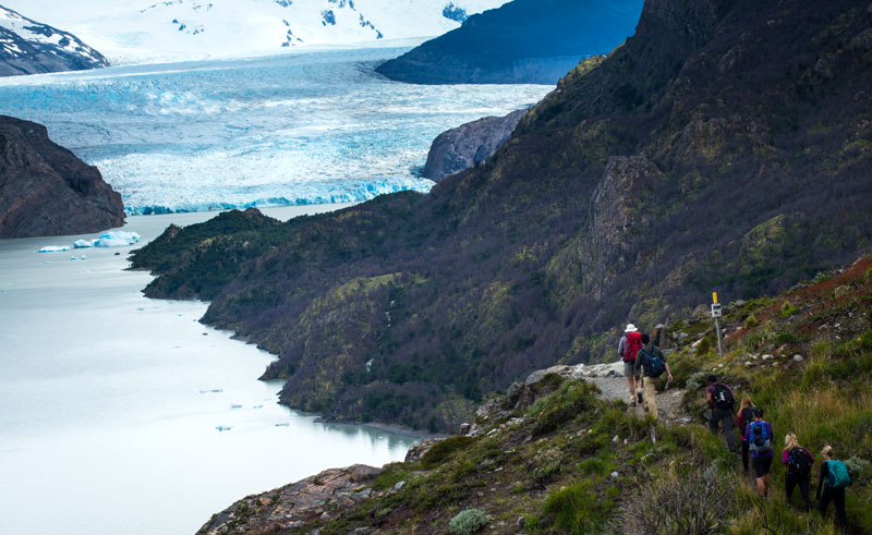 chile patagonia torres del paine hiking to glacier cas