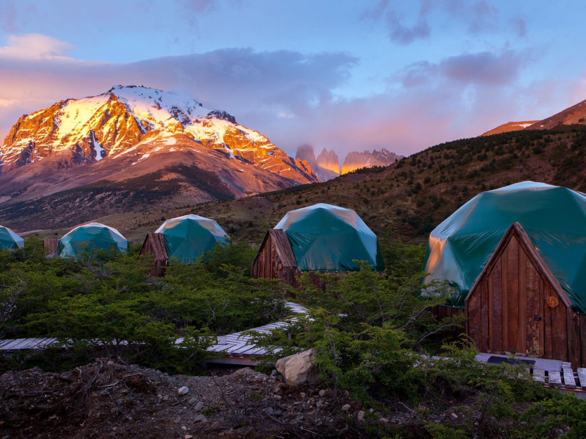eco camp patagonia standard domes sunrise