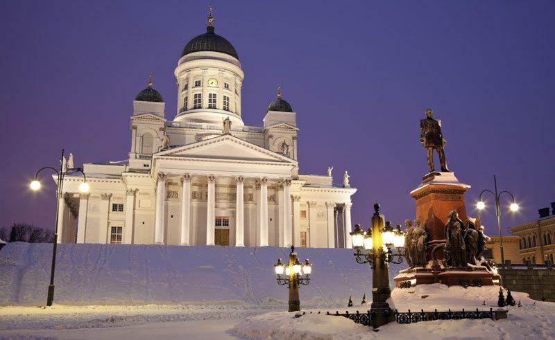 finland helsinki cathedral winter astock
