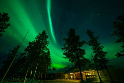 finland lapland aurora over muotka wilderness lodge