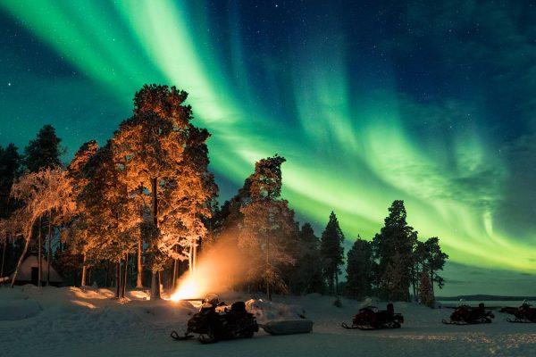 finland snowmobile aurora safari nangu