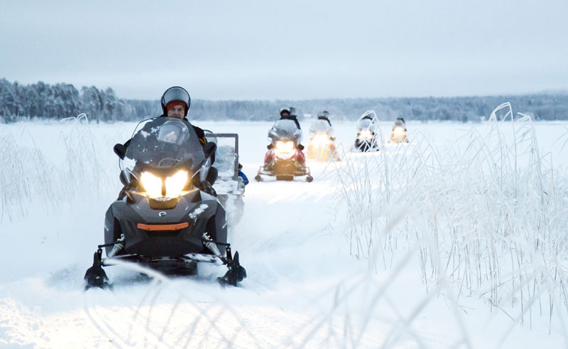 finnish lapland snowmobiling from nellim