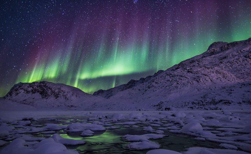 greenland northern lights ice fjord vg