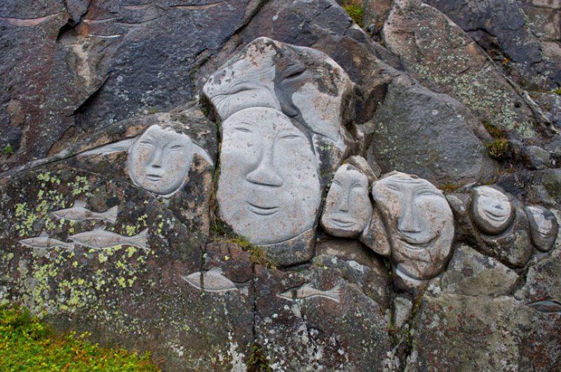 greenland south qaqortoq rock carving faces vg