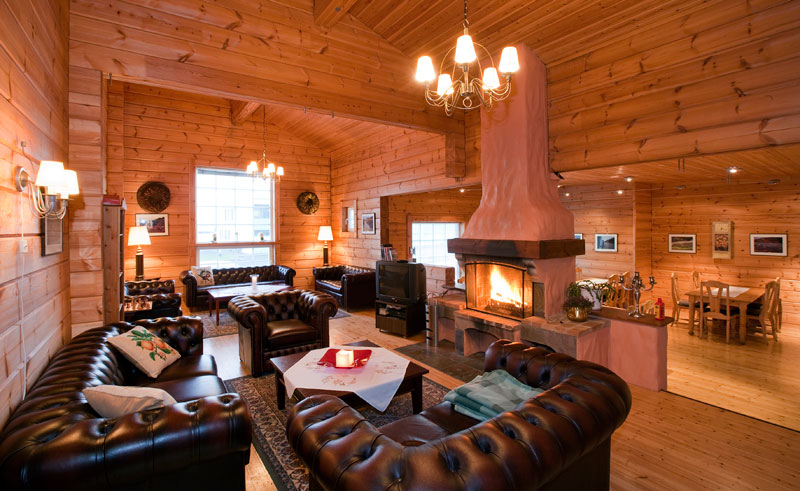 hotel blafell lounge area with log fire