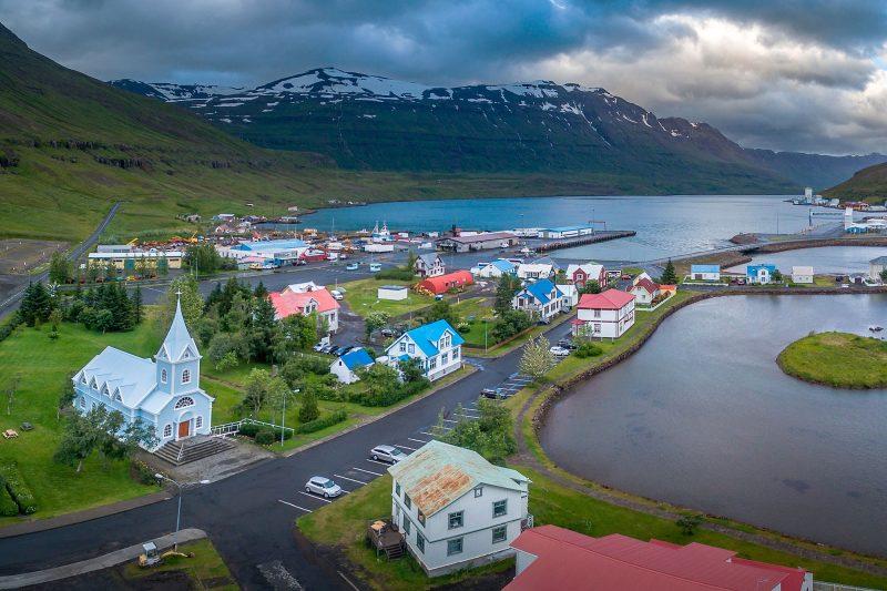 iceland east fjords seydisfjordur aerial rth