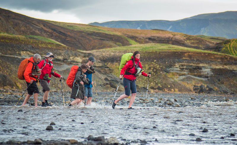 iceland highlands laugavegur hiking trail river crossing2 img