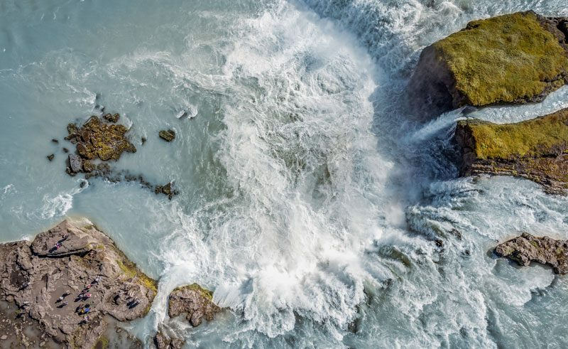 iceland north east godafoss drone view rth