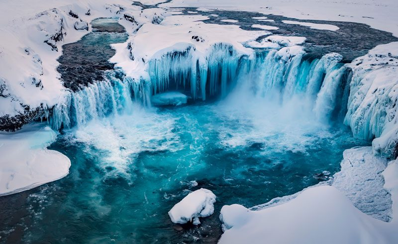 iceland north east godafoss winter aerial rth