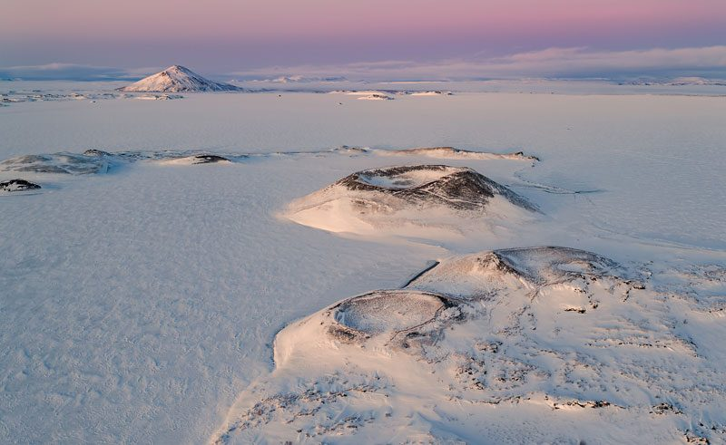 iceland north east lake myvatn snow covered pseudo craters rth