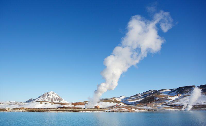 iceland north east lake myvatn winter geothermal activity ap