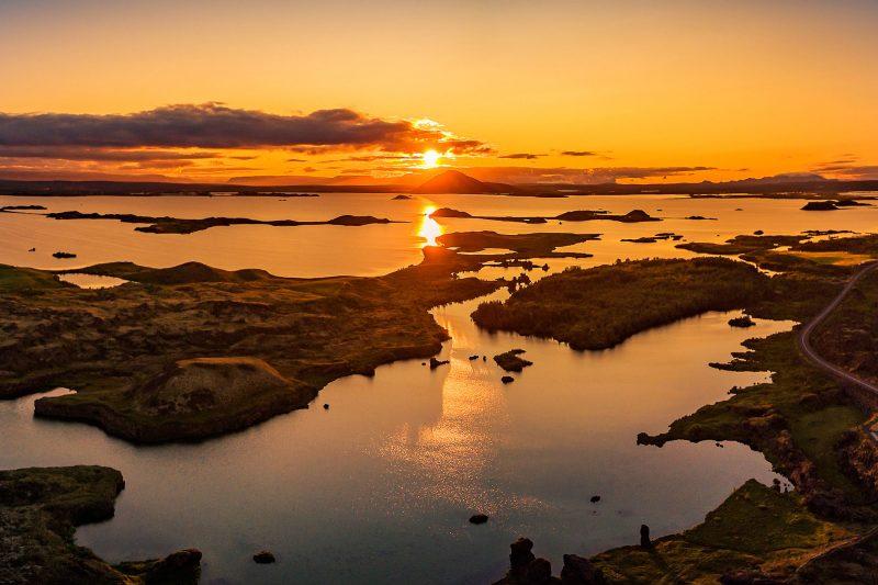 iceland north east myvatn kalfastrond sunset rth