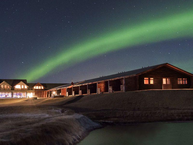 iceland northern lights over hotel ranga