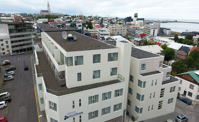 iceland reykjavik hotel klettur aerial