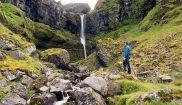 iceland snaefellsnes hiker waterfall adstk