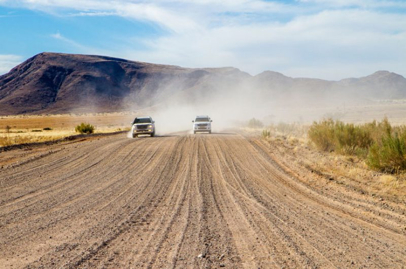 namibia generic driving dusty road is