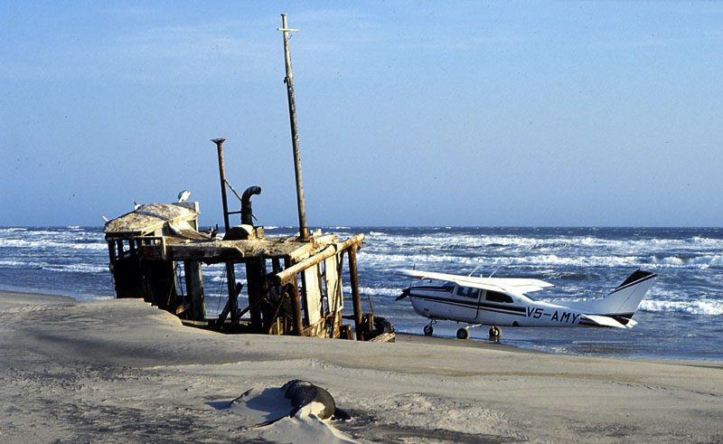 namibia skeleton coast beached shipwreck and light aircraft scs