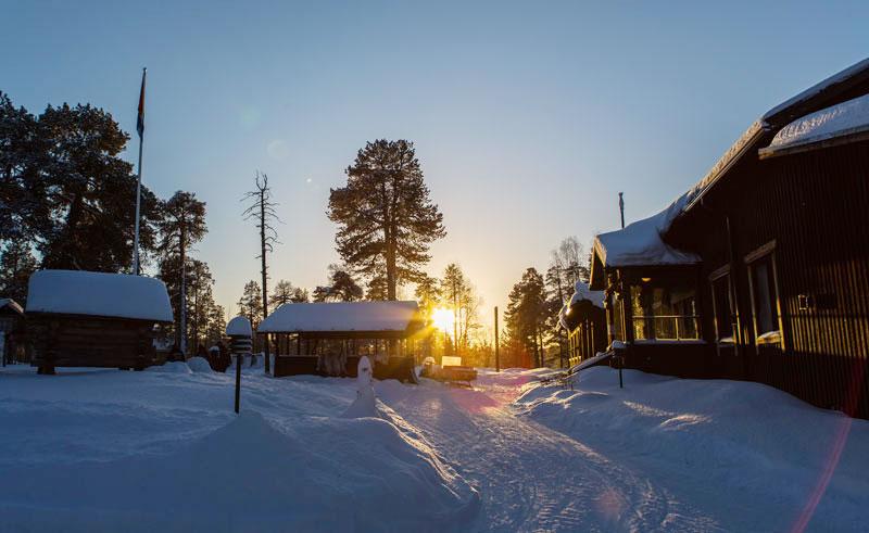 nellim wilderness resort outside sunset