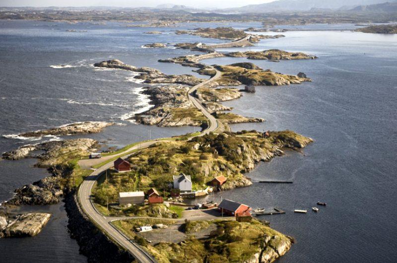 norway fjords atlantic road aerial view fn