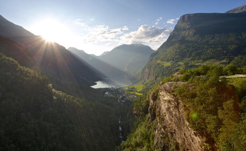 norway fjords geirangerfjord sunlight ap