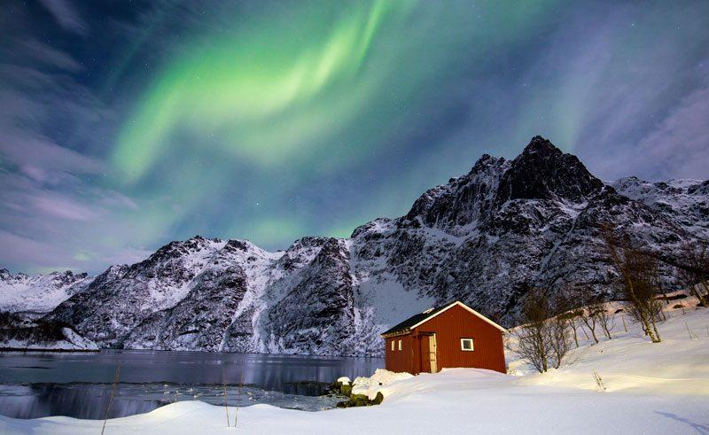 norway lofoten hut with aurora istk