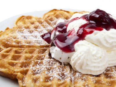 scandi food waffles and cream istock