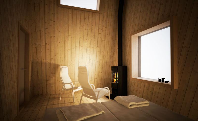 sweden lapland arctic bath hotel room interior