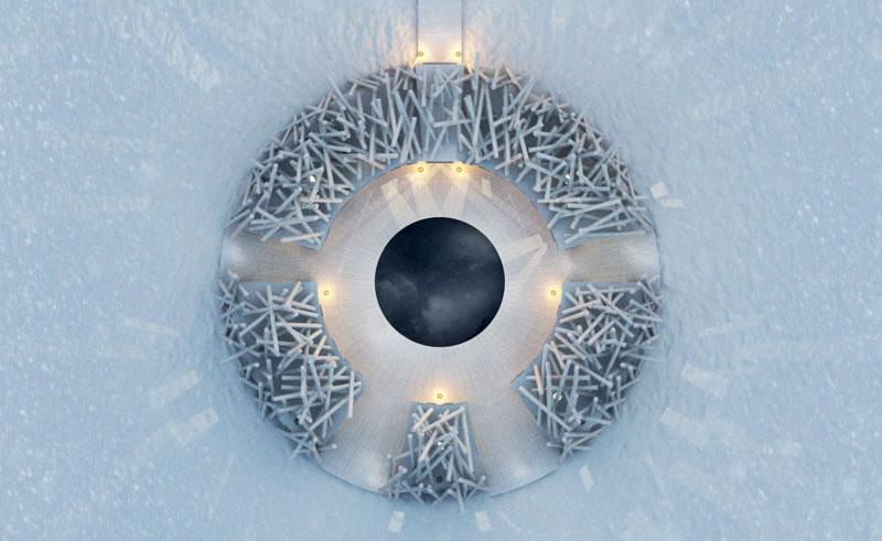 sweden lapland arctic bath topview winter