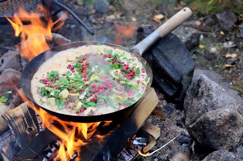 sweden lapland campfire cooking brandon lodge