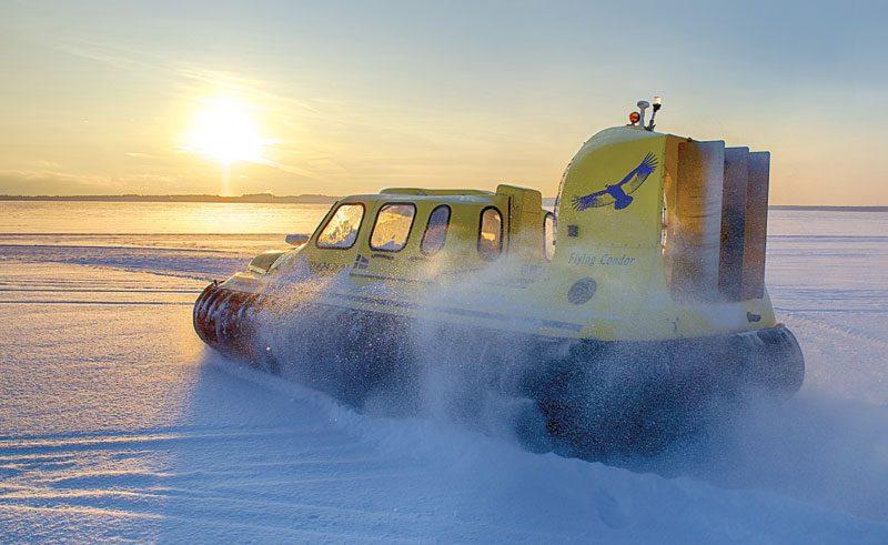 sweden lapland hovercraft winter