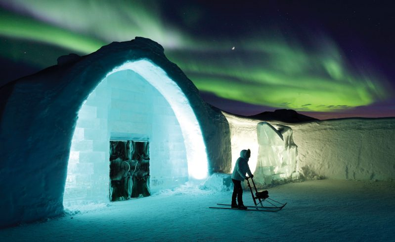 sweden lapland icehotel entrance exterior aurora rth
