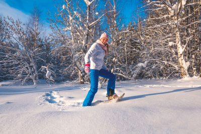 sweden lapland snowshoeing woman adstk