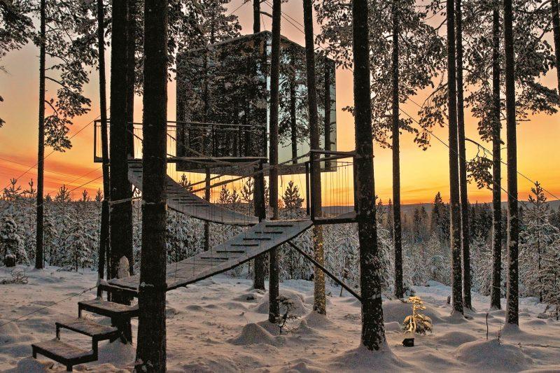 sweden lapland sunset cube treehotel