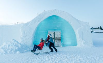 swedish lapland icehotel entrance kick sled2 gte
