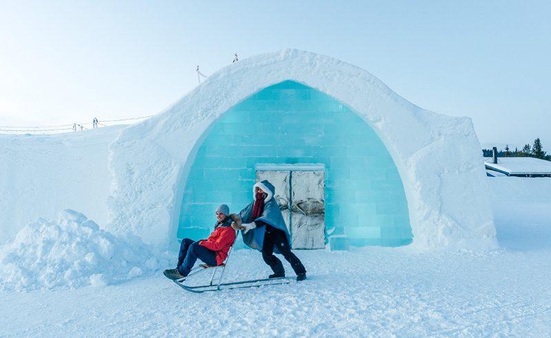 swedish lapland icehotel entrance kick sled2 gte