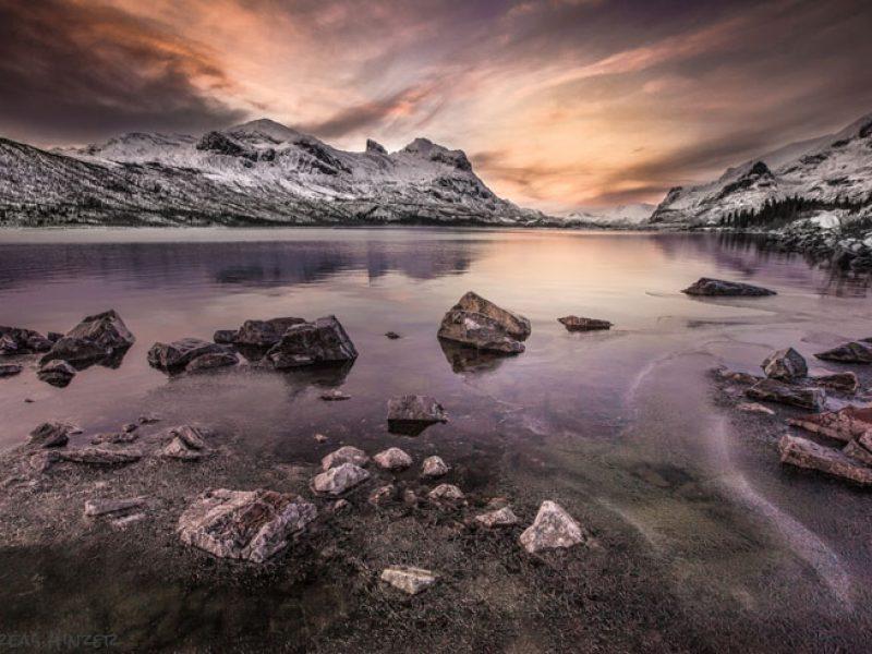 swedish lapland stora sjofallet lake and mountains winter ss